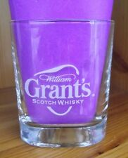 "WILLIAM GRANT'S SCOTCH WHISKY TRIANGULAR GLASS WHITE LETTERING HEIGHT 3½"" (9CM)"
