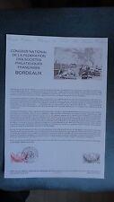 CONGRES NATIONAL PHILATELIQUE BORDEAUX COLLECTION HISTORIQUE DU TIMBRE 1ER JOUR