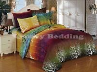 rainbow tree bedding set: duvet cover set or sheet set or accessories, all sizes