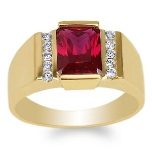 Mens 14K Yellow Gold 2.6ct Emerald Red Colored CZ Luxury Ring Size 7-12