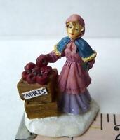 Grandeur Noel Apple Vendor Lady Victorian Christmas Village  2001 Miniature