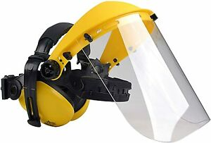 Safety Helmet with Ear Defender and Face Mask - Forestry Chainsaw Marble Stone