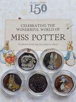 Full Set of Coloured Beatrix Potter 50p Coins Peter Rabbit Jemima Tiggy Squirrel