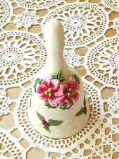 Vintage White Pottery Bell Pink Flowers Collectible Unbranded Decorative Gift