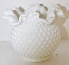 """VTG Fenton White Milk Glass Hobnail 6 1/4"""" Bowl White - Ruffled Edge-Heavy - EUC"""