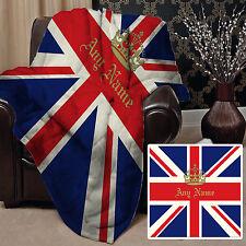 CORONA personalizzato Union Jack Design morbido tiro coperta in pile Grande Regalo