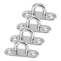 4pcs Marine Boat Stainless Steel Oblong Pad Eye Plate Staple Ring Hook U-Shaped