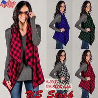 Plus Size Women Sleeveless Plaid Check Waistcoat Vest Jacket Cardigan OutwearTop
