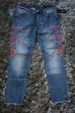 """NWT MISS ME 9.5"""" High Rise Colorful Embroidered Skinny Ankle Denim Jeans 30 W"""