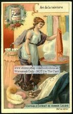 Woman Dyeing Fabric Material Art Nouveau PRETTY 1899 Chromo Trade Ad  Card
