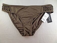 NWT Womens Kenneth Cole Weave Your Own Way Tab Hipster Bikini Bottom Sz L Olive