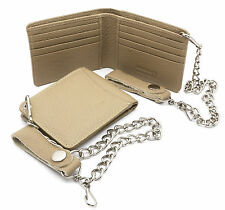 Bifold Light Beige Genuine Leather Wallet with Scale Texture Design with a Chain