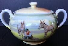 Vintage Royal Bayreuth Donkey Or Mule Themed Covered Sugar Bowl