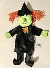 """FAO Schwarz Halloween Witch Hand Puppet Plush Toy 14"""" Green Orange Black"""