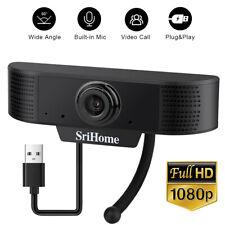 W/ Microphone For Laptop Desktop Computer 1080P Autofocus HD Webcam Camera