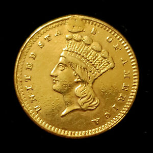 1861 Gold Dollar $1 Mount Removed x Jewelry - Civil War Era - XF Details