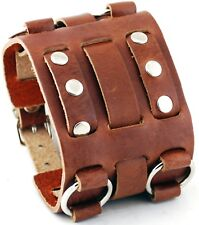 Nemesis WB-B Wide Brown Leather Tri Clasp Cuff Wrist Watch Band
