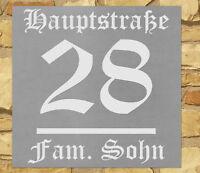 Hausnummer Schild mit Gravur nach Wunsch Edelstahl-Look in 3 Größen vorgebohrt