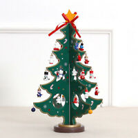 Wooden Christmas Tree With Miniature Christmas Ornaments Xmas Tabletop Decor AU