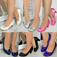 Womens Wedding Shoes Ladies Low Mid Heels Bridal Bridesmaid Party Sandals Courts
