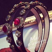 Women Retro Headband Ruby Crystal Acetate Acrylic Patchworks Fashion Accessories