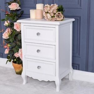 White Wooden Bedside Tables Chest Bedroom Furniture 3 Drawer Unit Home Chic