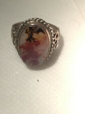 Dendritic Agate Stone Ring Sterling Silver Handmade Antiqen For Men And Women