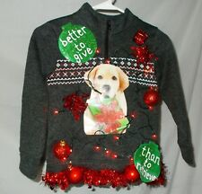 Ugly Christmas Sweater LABRADOR Dog BETTER TO GIVE THAN TO RETRIEVE Youth 5/6