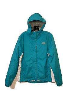 The North Face Hyvent Womens Blue Nylon Hooded Full Zip Rain Jacket Size M