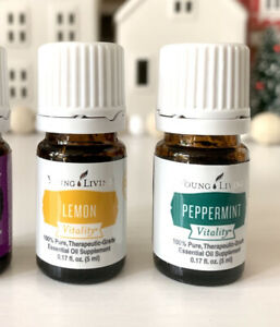 Young Living Peppermint & Lemon Essential Oil, 5mL Vitality Brand New Sealed Lot