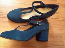 """New """" Clarks """" Size 5 Bianca Navy Teal T-bar Leather Suede Shoes (38 EU)RRP £49"""