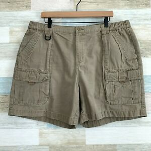 """Columbia Cliff Lakes Cargo Shorts Beige 7"""" D Ring Hiking UPF Casual Mens XL 40W"""