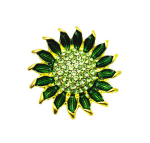 3D Crystal Sunflower Chunk Charm Snap Button Fit 18mm Snap Bracelet Jewelry