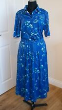 Vintage Country Collection 2 Piece Blue Floral Skirt Outfit Size 12