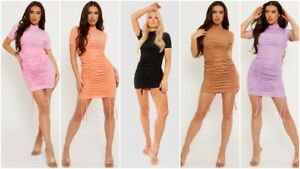 Womens Short Sleeve Stretch Ruched Drawstring Ribbed Party Bodycon Mini Dress