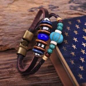G74 Bronze Surfer Hemp Leather Wood Beads Wristband Bracelet Mens Cuff Turquoise