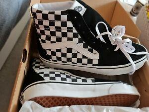 Vans UA Sk8-Hi (Checkerboard) Unisex Schuhe Sneaker Leder schwarz weiß GR 42 NEU
