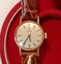 OMEG WOMEN'S WATCH (1979) GOLD 9ct Yellow Leather Strap Silver Dial Calibre 625