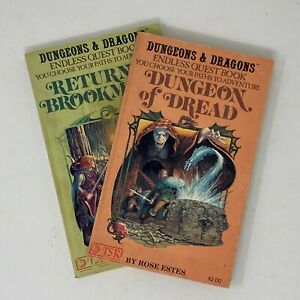 2 Dungeons & Dragons Endless Quest Books:  Dungeon of Dread, Return to Brookmere