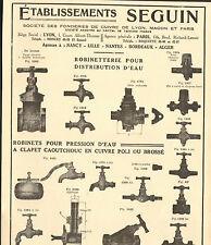 FONDERIES DE CUIVRE DE LYON MACON PARIS ETS SEGUIN ROBINETTERIE PUBLICITE 1934