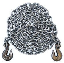 3/8 Inch 20 Foot Feet Grade 100 Transport Binder Chain Grab Hooks on Both Ends
