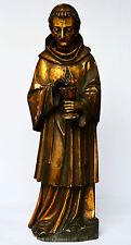 Skulptur Holzfigur 19. Jh. geschnitzt Blattgold. Hl.Johannes Soreth Höhe 78 cm