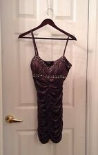 Sexy Bebe Embellished Studded Spikes Gun Metal Ruched Metallic Dress Small