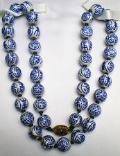 """Estate Fine Old Chinese Porcelain Blue and White Beads Beaded Necklace 25"""""""
