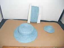 "Doll Millinery Paper Hat Straw for Bleuette 10 Yards of Medium Blue 1/4"" WIDE"