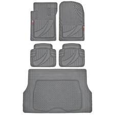Modern Gray 5pc Automotive Rubber Floor Mats & Cargo Liner for SUV Car Van