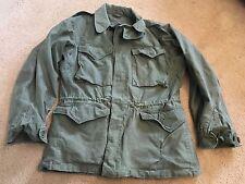 "~VINTAGE 40'S WWII M-1943 FIELD JACKET 36R FRONT ARROW STITCH 42"" CHEST OD M43"