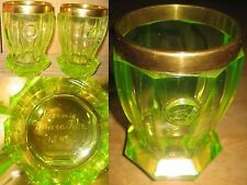 Biedermeier Paar Uran Glas Ranftbecher 1843 museal Schälschliff mundgeblasen