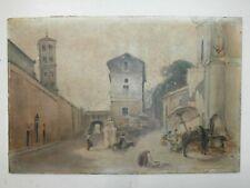 Antico dipinto olio su cartone Scorcio di paese 27x18 cm