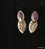 Vintage Earrings MARKED  925 Sterling Silver Pierced Stud Amethyst Dangle